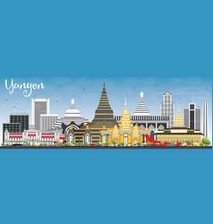 Yangon skyline with gray buildings and blue sky vector