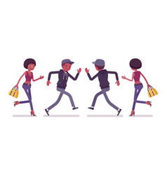 young black man and woman running vector image