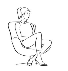 Young woman sitting in armchair in a closed pose vector