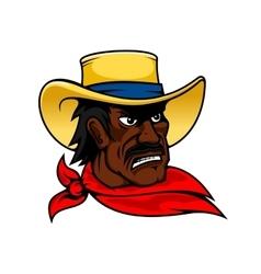 African american cartoon cowboy man in hat vector