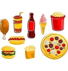 Cartoon fast food drinks and snacks vector