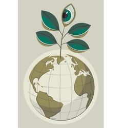 green earth and plant with an eye vector image