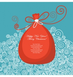 greeting card with gift bag vector image vector image