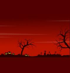 Halloween scenery pumpkin grave background vector