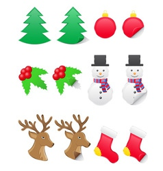 icons labels for christmas and new year vector image vector image