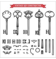 Vintage key constructor Old keys set vector image