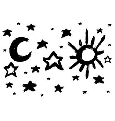 brush sun and moon star vector image vector image