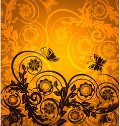 orange floral ornament with butterfly vector image vector image