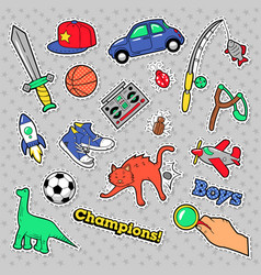 stickers boys theme toys sports car vector image vector image