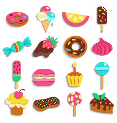 sweets party treats icons collection vector image vector image