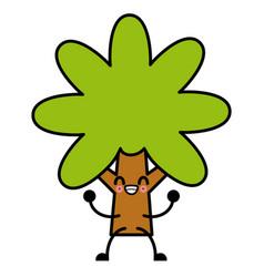 tree nature symbol cute kawaii cartoon vector image