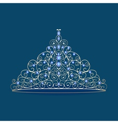 womens tiara crown wedding with blue stones on a b vector image