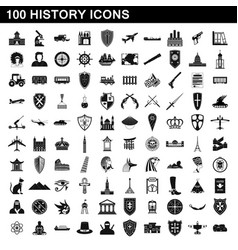 100 history icons set simple style vector image