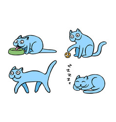 blue pussycat emoticons set isolated vector image vector image