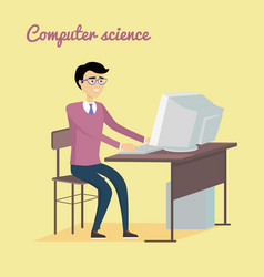 computer science concept in flat style design vector image vector image