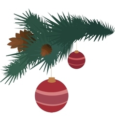 Fir branch with pine cones and balls vector