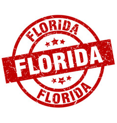 florida red round grunge stamp vector image vector image