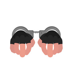 hands in handcuffs on a white background vector image