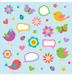 Speech bubbles with cute birds vector image vector image