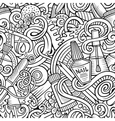 Cartoon doodles Manicure seamless pattern vector image vector image