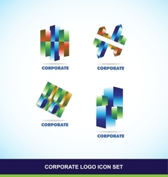 Corporate 3d logo set vector image vector image