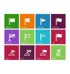 Flag icons on color background vector image