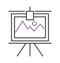 Graph with two lines on whiteboard flipchart icon vector image