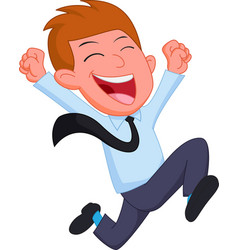 happy businessman cartoon running vector image