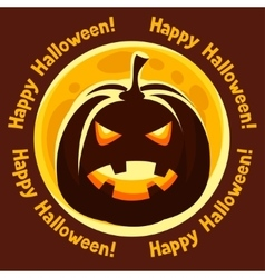 Happy halloween greeting card with moon and angry vector image vector image