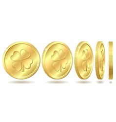 Set of golden coins with four leaf clover vector image