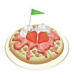 Waffle with Strawberries and Whipped Cream vector image vector image