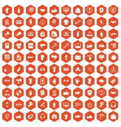 100 different gestures icons hexagon orange vector image