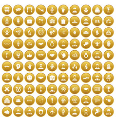 100 handshake icons set gold vector