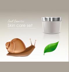 3d realistic skincare set - snail cosmetics vector image