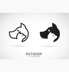 a dog and cat design on white background petshop vector image
