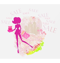 abstract fashion girl Shopping - summer Sale vector image