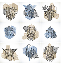 abstract three-dimensional shapes set designs vector image