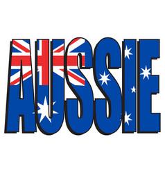 Australian aussie text with flag vector