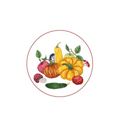 Autumn composition with vegetable vector