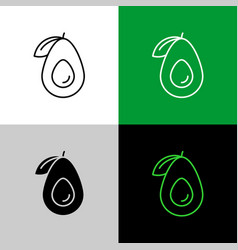 avocado fruit thin line simple icon variations vector image