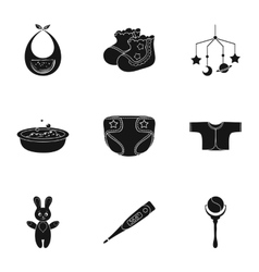 Baby born set icons in black style Big collection vector image