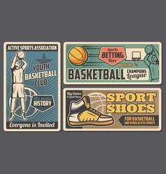 Basketball sport equipment shoes team club vector