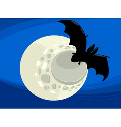 bat at night cartoon vector image