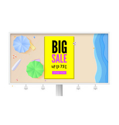 big summer sale billboard with seashore sandy vector image
