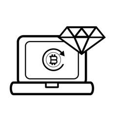 bitcoin computer icon black and white vector image