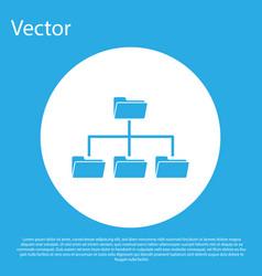 blue folder tree icon isolated on blue background vector image