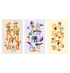 brazil carnival exotic character typography banner vector image