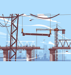 bridge construction process vector image