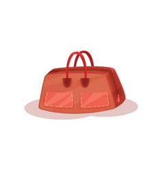 brown leather handbag for carry personal items vector image