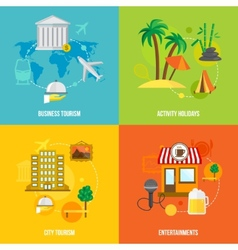 Building tourism concepts flat vector